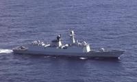 中国海军湘潭舰完成东盟防长扩大会实兵演习归国