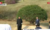 金正恩和文在寅在三八线附近植树 祈愿半岛和平